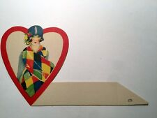 Vintage Bridge Game Tally Place Card -- Lovely Lady w/ Cloche hat and Scarf