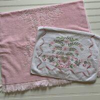 Vintage Bucilla Sears Bath Towels Pink Medallion Sculpted Floral