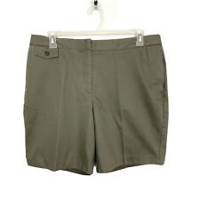 Lands' End Womens Size 16W Khaki Green Cotton Casual Shorts NWT