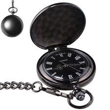 Retro Quarz Taschenuhr für Herren Damen mit Schwarzem Zifferblatt und Kette Rund