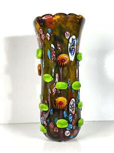 RETRO Murano Venetian Art Glass HUGE VASE ITALY - COLOURFUL - 38CM HEAVY (V5)