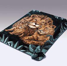 Solaron Original Lions Korean Mink Super Soft Plush Queen Size Blanket Green