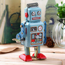 Vintage Mechanical Clockwork Wind Up Metal Walking Robot Tin Toy Kids Gift SG