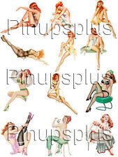 Redhead Pinup Girl Bomber Waterslide Decal Stickers 9 images on the sheet #47