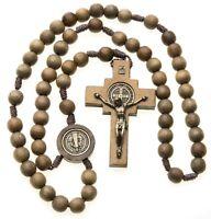 Large St Benedict Rosary Catholic Intercession Beads Brown Wood Cord Men Women