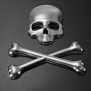 Metal Skull skeleton crossbones 3D custom car  badge decal sticker chrome