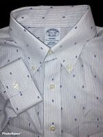 Brooks Brothers Regent Fitted Non-Iron Tear Drop Oxford Dress Shirt Size 15.5-34