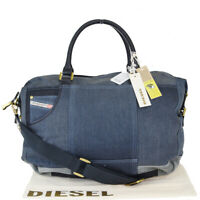 Auth Diesel 2WAY Canvas,Leather Handbag Blue 03GB816