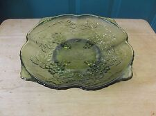 Anchor Hocking Vintage Pattern Avocado Green Footed Square Glass Bowl