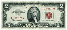 TWO DOLLAR Bill 1963 CIRCULATED Federal Reserve Red Seal Note #1