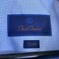 David Donahue Trim Fit Geometric Pattern Cotton Dress Shirt Men's 16.5 34/35