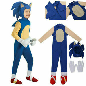 Kids Children Sonic The Hedgehog Jumpsuit Cosplay Costume Fancy Dress Gloves Hat