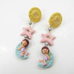 Vintage Polly Pocket Bluebird 1991 Star Dream Earrings Clip on