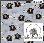 Longhorn Cow, Large Pattern 100% Cotton Poplin Fabric