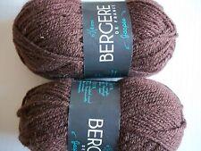 Bergere de France Jaspee wool blend yarn, Acajou (brown), lot of 2 (104 yds ea)