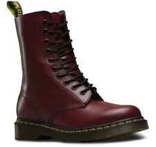 DR. MARTENS 1490 SMOOTH CHERRY RED 10-EYE LEATHER BOOTS 11857600 [ALL SIZES] NEW