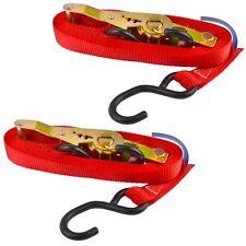 Red Ratchet Strap Tie Down Trailer 4m Hook Cargo Strap 325kg Lashing x 2 (Pair