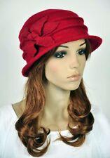 JM33 6-Leaf Flower Wool Elegant Lady Women's Warm Winter Hat Beanie Cap RED