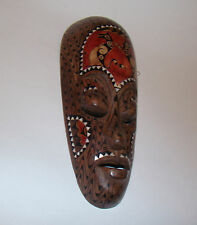 "HAND CARVED WOODEN Indonesia MASK MOTHER OF PEARL INLAY FACE 13"" Tribal Tattoo"