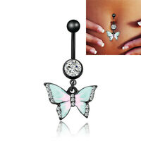 Crystal Zircon Butterfly Dangle Navel Belly Button Ring Body Piercing Jewelry