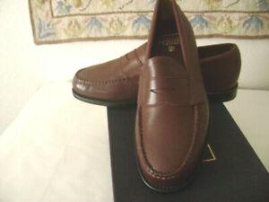 NIB-Genuine BROOKS BROTHERS PennyLoafers sz 8-1/2D-Burgundy/Brown-Bonus dust bag