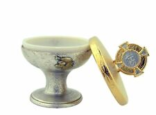 Silver and Gold Two Toned Metal JHS Chalice First Communion Keepsake Box,2 1/2in
