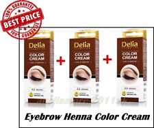 3 X DELIA Henna Color Cream BROWN Eyebrow Professional Tint Kit Set  15 ml