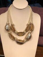 "Stunning Clear Glass Rhinestones Vintage Necklace Statement Bib 18"" Cord Chain"