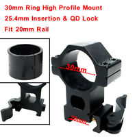 High Profile 30mm/25.4mm Scope Ring 20mm Rail QD Mount For Laser Sight Torch
