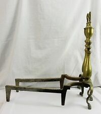 """Vintage Brass Chippendale Fireplace Hearth Andirons 20"""" Urn Trophy Style Cast"""