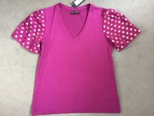 M&S MAGENTA TOP WITH GOLD SPOTS ON SHEER SHORT SLEEVES WITH V.NECKLINE - 10 BNWT