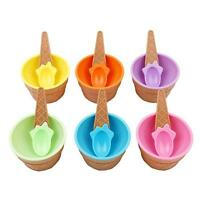 Old Fashioned Ice Cream Social Waffle Cone Bowl with Spoon For Kids shan