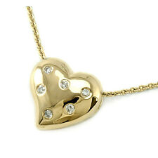 Diamond Heart Pendant Necklace Solid Polished 14k Yellow Gold