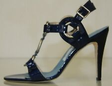 Nuevo Manolo Blahnik Azul Marino Charol Tiras Sandals Zapatos 37