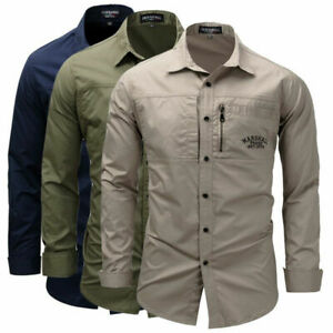 Men's Long Sleeve Dress Shirts Casual Shirt Outdoor Military Army Tactical Work