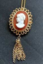 Great Quality Vintage Lady Head Cameo Brooch Pin Necklace Pendant with Tassel
