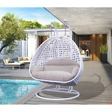 LeisureMod Outdoor Modern Wicker Hanging Double Egg Swing Chair in White