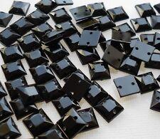 100pcs 8x8mm SQUARE Black Acrylic Flatback Rhinestones Crystal Gems DIY Sew On