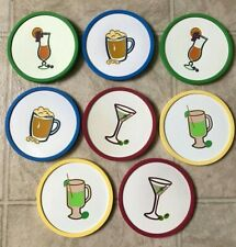 8 Rubber Drink Coasters Cocktails Margarita Beer Barware Party Tableware Round