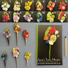 "RANDOM FLOWER POSY: Tussie Mussie Flowers for ""Poirot"" Lapel Pin/Brooch Vases"