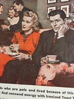 Vintage Photoplay 1947 Magazine Print Ad Ads Advertisement Ironized Yeast Tablet