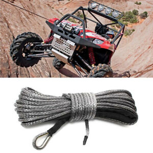 50ft/15m Nylon Synthetic Winch Line Cable Rope Functional Fit For Car ATV Gray