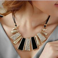 Pendant Chain Crystal Choker Chunky Bib Statement Necklace Women Wedding Jewelry