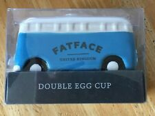 Fat Face Vdub Campervan Double Egg Cup, new in sealed box, blue/white