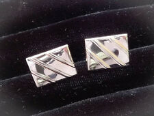 Vintage Swank 40s Rectangular Silvertone Cufflinks w/Diagonal Stripes