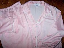 NWT Oscar de la Renta BABY PINK Classic Satin Pajama Pants/Top Set M $68 SOFT
