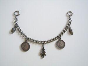 Fashion Jewellery Silver Coated Chain Charivari With Coins Leaf & Acorn Pendant