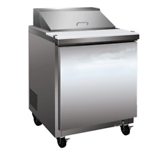 "27"" 304 Stainless Steel Commercial Salad & Sandwich Refrigerator Prep Table Cool"