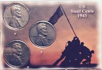 1943 P-D-S (3 coins) STEEL LINCOLN WHEATIES (GEM BEAUTIES) IN A DISPLAY CASE #17