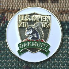 """2007 US OPEN Oakmont CC 1"""" 2-Sided Gold Plated Golf Ball Marker_ Angel Cabrera"""